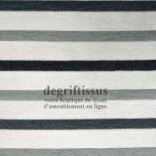 Scandinave rayé gris noir Dégriftissus vous propose ce superbe tissu d'ameublement, tissage Jacquard, rayé gris et noir. Ce tiss
