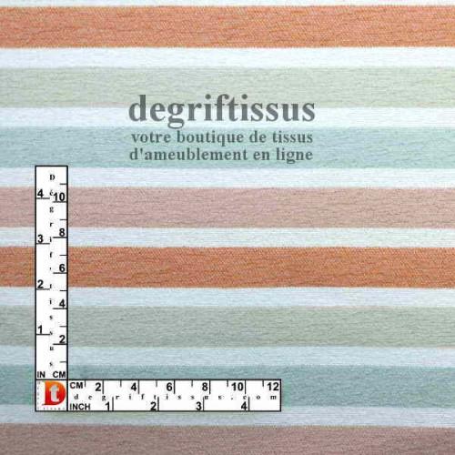 Scandinave rayé orange rose vert beige Dégriftissus vous propose ce superbe tissu d'ameublement, tissage Jacquard, rayé orange,