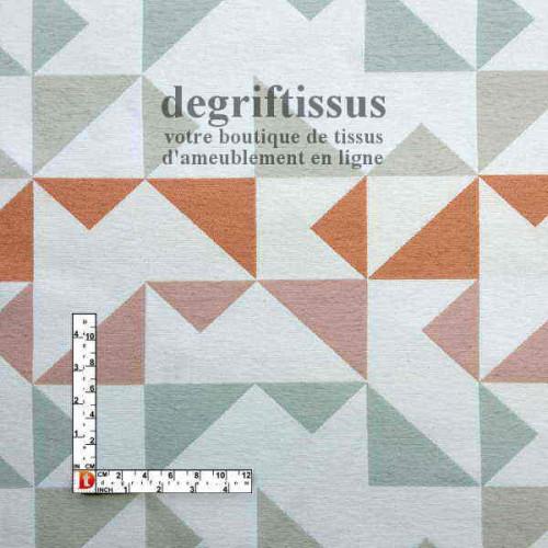 Scandinave triangle orange rose vert beige Dégriftissus vous propose ce superbe tissu d'ameublement, tissage Jacquard, avec tria