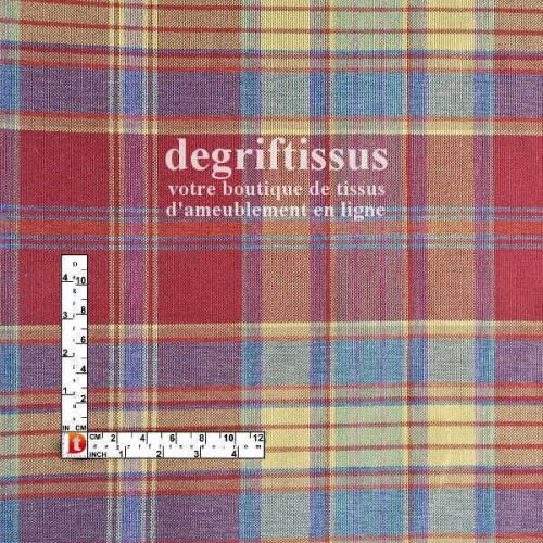 Dégriftissus vous propose ce tissu d'ameublement écossais madras rouge, tissé Jacquard de très haute qualité doublé latex, pour