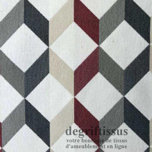 Scan cube beige bordeau gris Dégriftissus vous propose ce superbe tissu d'ameublement, tissage Jacquard, avec cube beige, bordea