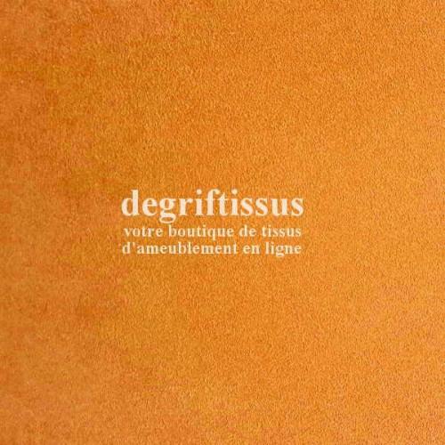 Daim suédine safran Dégriftissus vous propose ce tissu d'ameublement imitation daim suédine, pour chaises, fauteuils, tête de li
