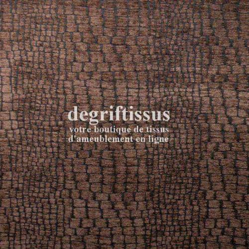 Ecorse chocolat Dégriftissus vous propose ce tissu d'ameublement écorce d'arbre marron, tissage velours chenillé de très belle q