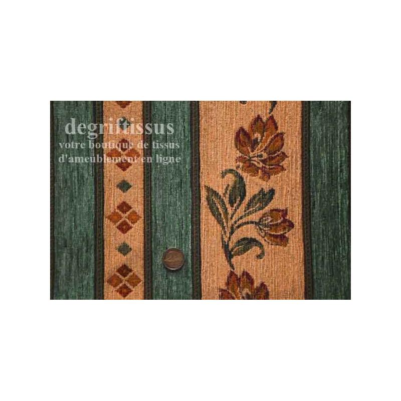 Tissu Tapisserie à bandes fleuries Dégriftissus vous propose ce tissu tapisserie de style,Tissu d'ameublement de style à bandes
