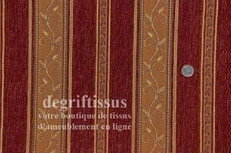 Tissu Tapisserie à bandes Dégriftissus vous propose ce tissu tapisserie de style, Tissu d'ameublement de style à bandes brique e