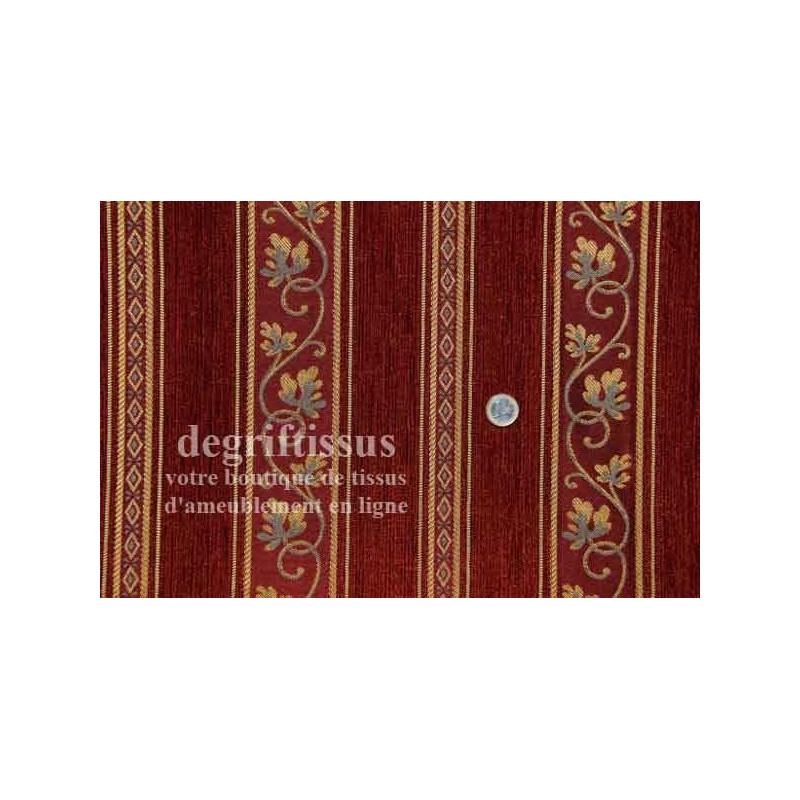 Tissu Tapisserie à rayures Dégriftissus vous propose ce tissu d'ameublement tapisserie de style à rayures brique entrelacées de