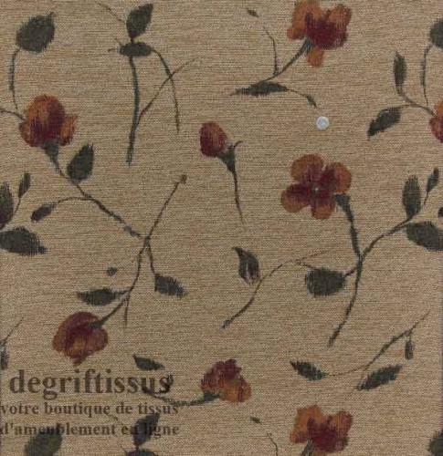 Tissu Tapisserie fleuri Dégriftissus vous propose ce tissu d'ameublement tapisserie à fleurs. Tissu d'ameublement style tapisser