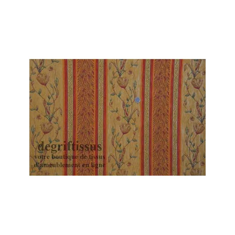 Tissu Tapisserie à bandes fleuries