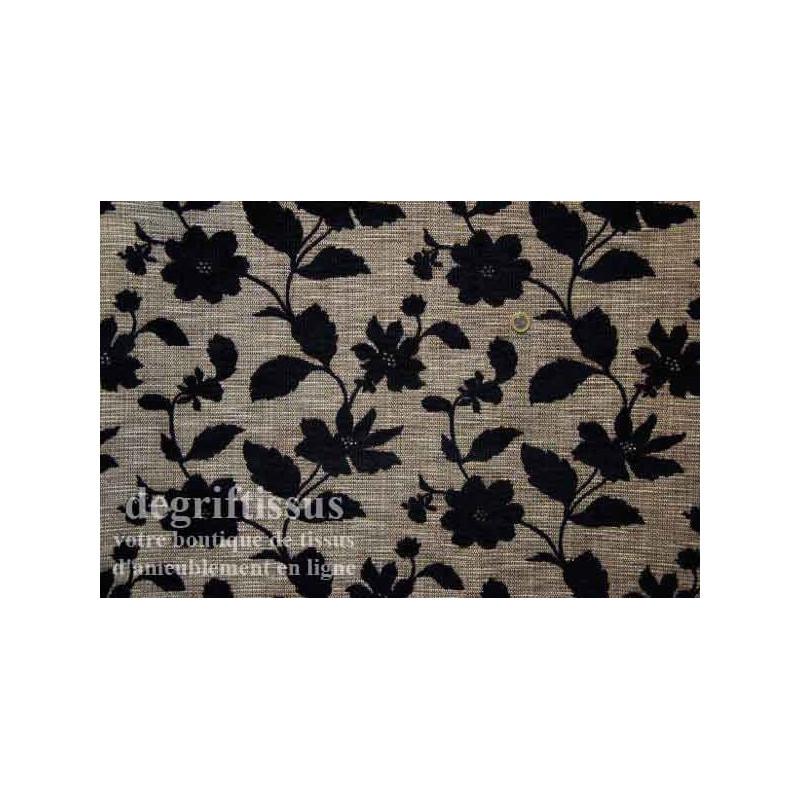 tissu d 39 ameublement tapisserie tissu fleurs noires double face hauts de france. Black Bedroom Furniture Sets. Home Design Ideas