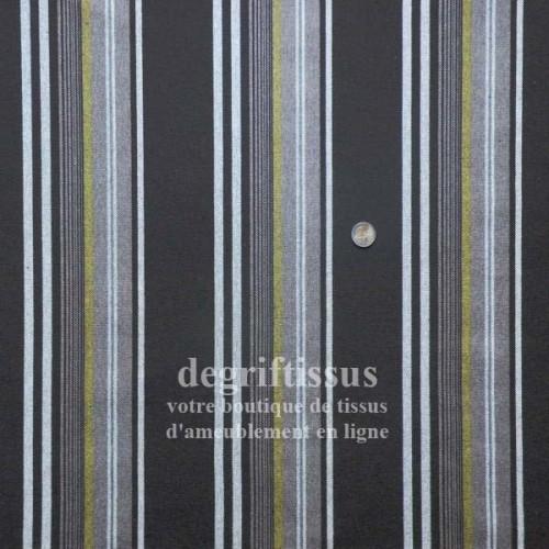 Tissu d'ameublement - rayé chocolat et vert - pour transat - fauteuil - canapé - banquette - chaise - degriftissus.com