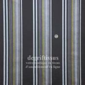 Tissu d'ameublement - rayé chocolat et vert - doublé latex - transat - fauteuil - canapé - banquette - chaise - degriftissus.com