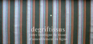 Dégriftissus vous propose ce tissu d'ameublement rayé chocolat, orange, fushia et mauve Tissu d'ameublement très épais et solide