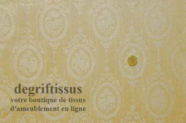 Satin d'ameublement tissé médaillon Trianon Dégriftissus vous propose ce tissu d'ameublement de style, à médaillons style Marie-