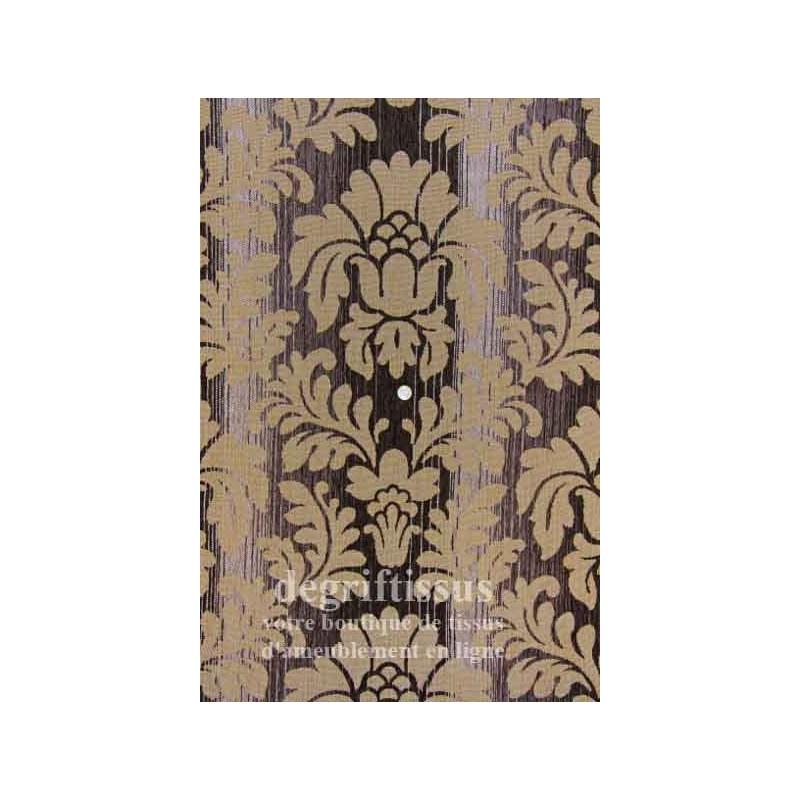 Velour mixte médaillon strié Dégriftissus vous propose ce tissus d'ameublement velours strié médaillon baroque. Velours d'ameubl