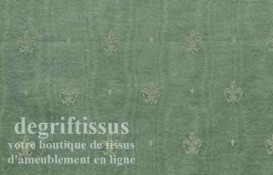 Satin d'ameublement tissé vert à fleurs de lys Dégriftissus vous propose ce tissu d'ameublement vert avec fleurs de lys. Tissage