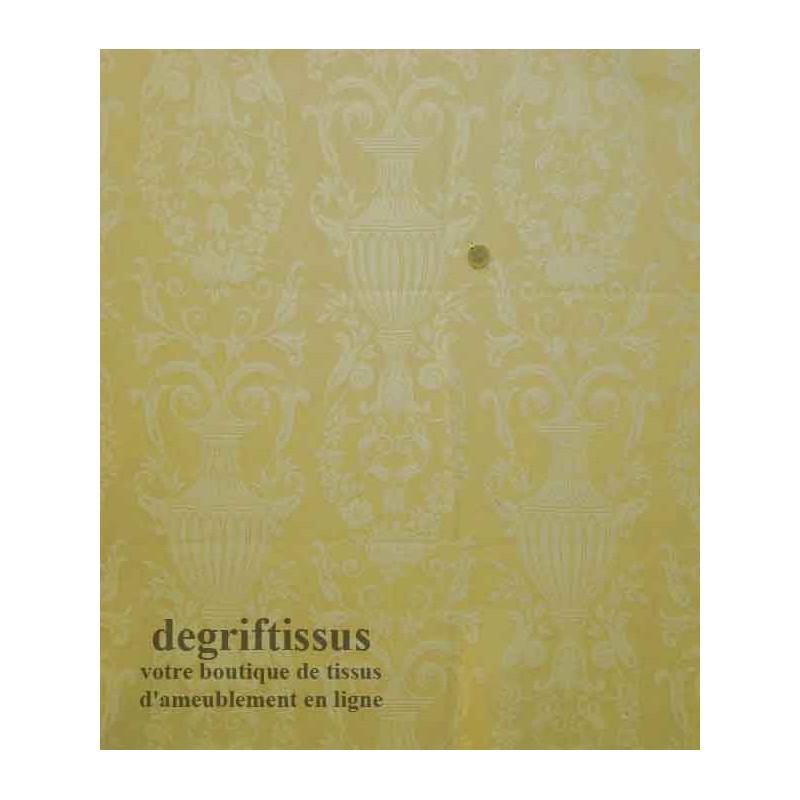 Satin d'ameublement tissé jarre Médicis Dégriftissus vous propose ce tissu d'ameublement avec jarres Médicis. Tissage Jacquard s