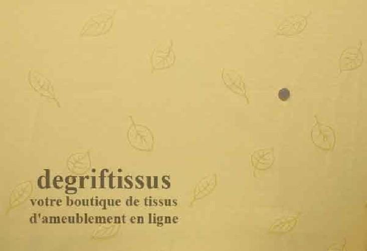 Tissu jaune à feuilles pour coussin - rideau Dégriftissus vous propose ce tissu d'ameublement reps jaune. Tissu d'ameublement ti
