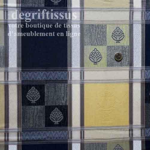 Tissu tissé de style à carreaux Dégriftissus vous propose ce tissu d'ameublement de style Louis XVI à carreaux jaunes et bleus.