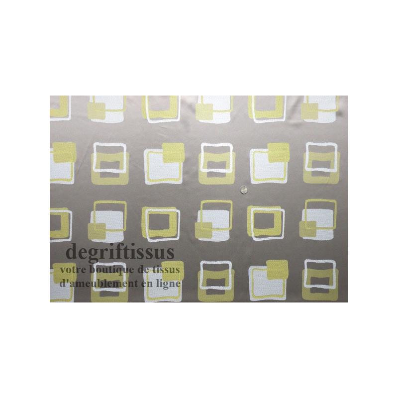 Dégriftissus vous propose ce tissu d'ameublement satiné taupe et vert Tissu tissé Jacquard satiné avec jolis motifs taupes et ve