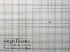 Dégriftissus vous propose ce tissu d'ameublement Jacquard écossais lin, blanc, gris, beige, doublé latex, de forte épaisseur et