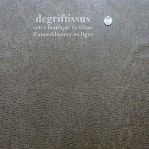 Tissu d'ameublement - suédine croco chocolat - pour faire du siège - canapé - banquette - chaise - degriftissus.com