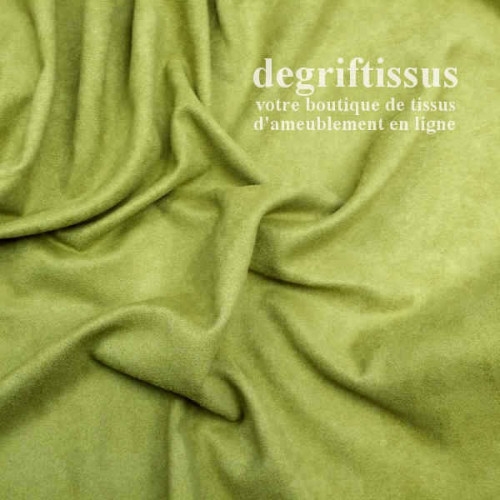Tissu d'ameublement - Daim suédine vert anis - pour fauteuil - canapé - banquette - chaise - tête de lit - degriftissus.com