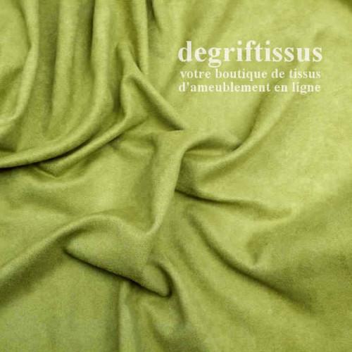Daim suédine vert anis Dégriftissus vous propose ce tissu d'ameublement imitation daim suédine, pour chaises, fauteuils, tête de