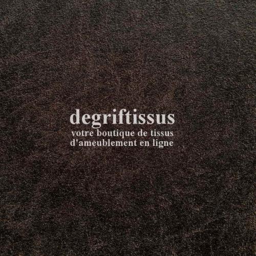 Dégriftissus vous propose ce tissu d'ameublement imitation cuir vieilli brun, doublé de latex, prévu pour faire du siège, fauteu