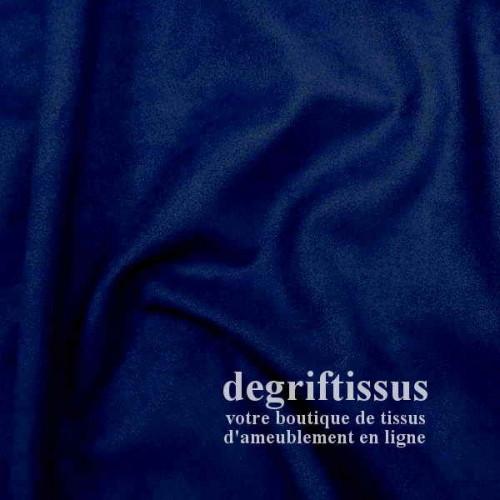 Daim suédine bleu marine Dégriftissus vous propose ce tissu d'ameublement imitation daim suédine, pour chaises, fauteuils, tête