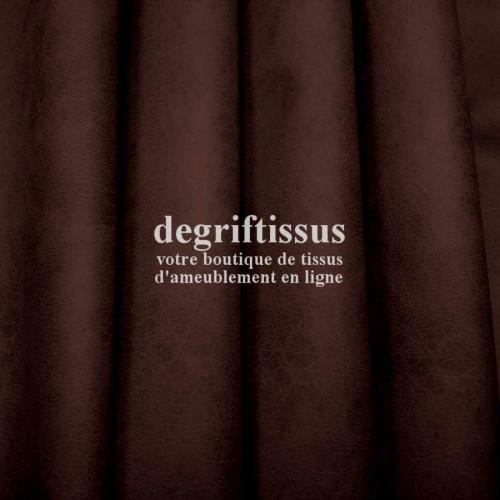 Cuir vintage craquelé marron foncé Dégrif' tissus vous propose ce superbe tissu d'ameublement imitation cuir vintage effet cuir