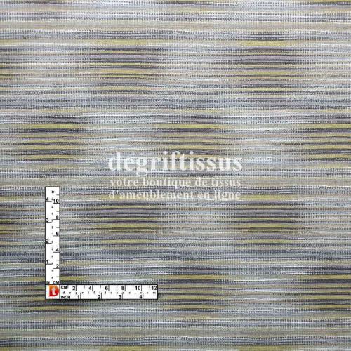Dégriftissus vous propose ce tissu d'ameublement strié jaune Tissu tissé Jacquard, de très grande résistance, prévu pour faire d