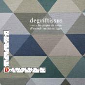 Triangles bleus verts beiges Dégriftissus vous propose ce superbe tissu d'ameublement avec motifs triangulaires bleus, verts et