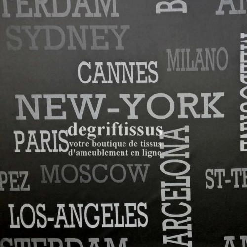 Degrif Tissus vous propose ce tissu d'ameublement villes du monde, satiné tissé, pour voyager de chez soi Amsterdam - Barcelon