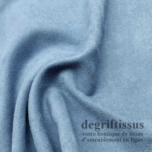 """Tissu d'ameublement - Daim suédine effet """"Alcantara"""" bleu ciel - fauteuil - canapé - banquette - chaise - degriftissus.com"""