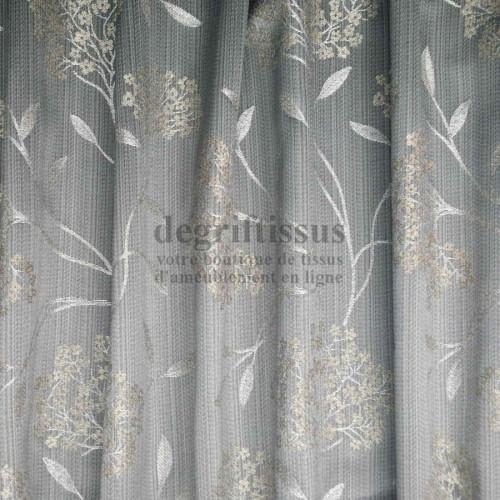 Degrif tissus vous propose ce tissu d'ameublement satiné à motifs graminées, tissé Jacquard satiné, avec de belles couleurs chat