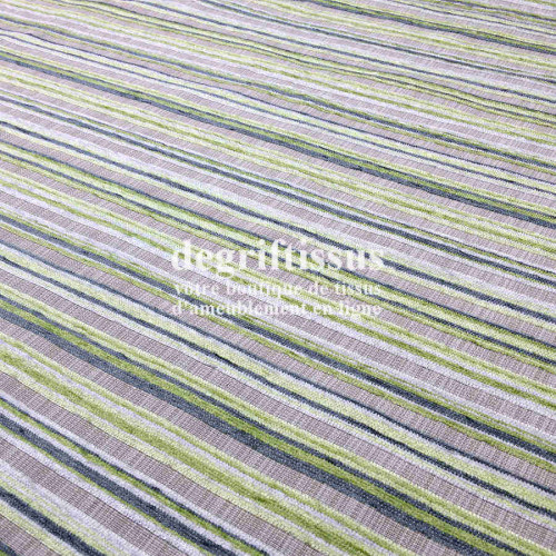 Tissu d'ameublement - rayé vert - tissé Jacquard - fauteuil - chaises - canapé - double rideau - degriftissus.com