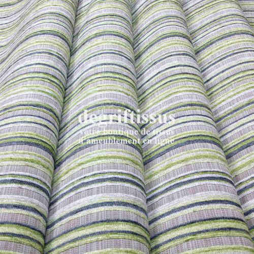 Tissu d'ameublement - rayé vert - Tissu tissé Jacquard - fauteuil - chaises - canapé - double rideau - degriftissus.com