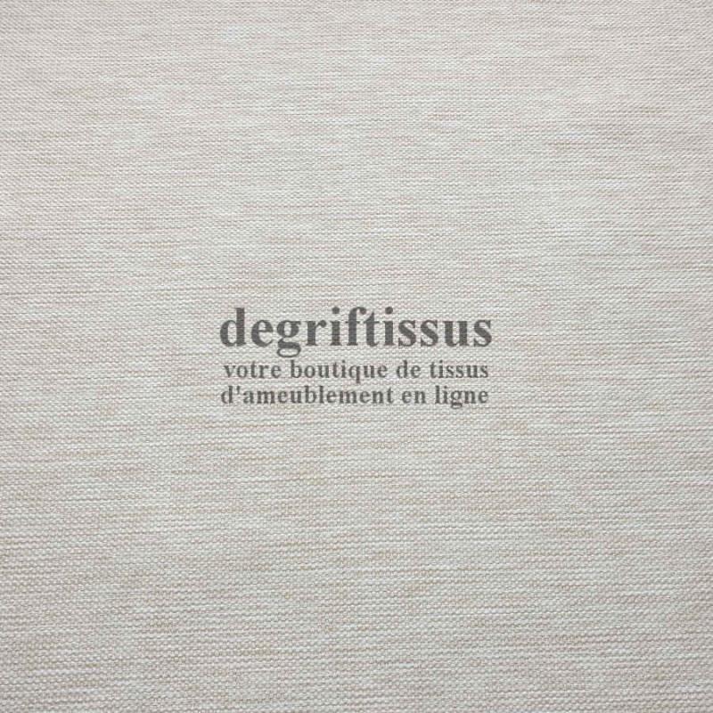 Tissu d'ameublement texturé beige écru chiné - intérieur extérieur résistant soleil - degriftissus.com