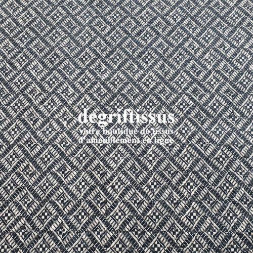 Tissu d'ameublement art déco - avec motifs bleus marines - épais structuré - siège - rideau - coussin - degriftissus.com