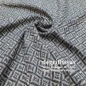 Tissu d'ameublement art déco - motifs bleus marines - épais structuré - siège - rideau - coussin - degriftissus.com