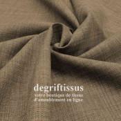 Tissus ameublement - Imitation lin anti-tache chocolat clair - siège fauteuil - coussin - rideau - nappe - degriftissus.com