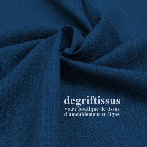 Tissus ameublement - Imitation lin anti-tache bleu nuit - siège - fauteuil - coussin - rideau - nappe - degriftissus.com
