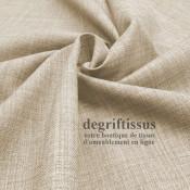 Tissus ameublement - Imitation lin anti-tache beige - siège - fauteuil - coussin - rideau - nappe - degriftissus.com