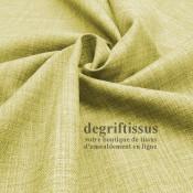 Tissus ameublement - Imitation lin anti-tache vert tilleul - siège - fauteuil - coussin - rideau - nappe - degriftissus.com