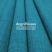 Tissus ameublement - Imitation lin anti-tache bleu turquoise - siège - fauteuil - coussin - rideau - nappe - degriftissus.com