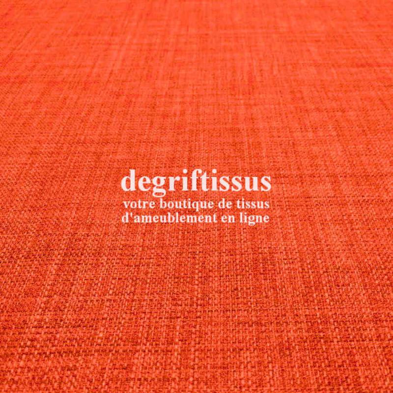 Tissus ameublement - Imitation lin anti-tache orange - pour siège fauteuil - coussin - rideau - nappe - degriftissus.com