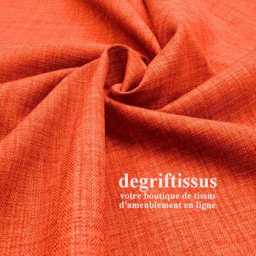 Tissus ameublement - Imitation lin anti-tache orange - siège fauteuil - coussin - rideau - nappe - degriftissus.com