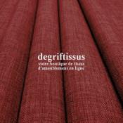 Tissus ameublement - Imitation lin anti-tache bordeaux - pour siège - fauteuil - coussin - rideau - nappe - degriftissus.com
