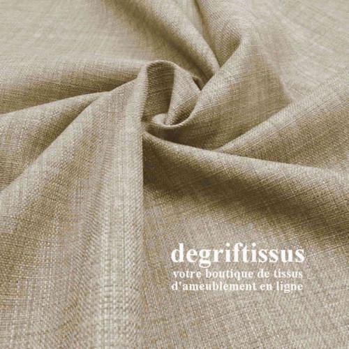 Tissus ameublement - Imitation lin anti-tache beige naturel - siège fauteuil - coussin - rideau - nappe - degriftissus.com