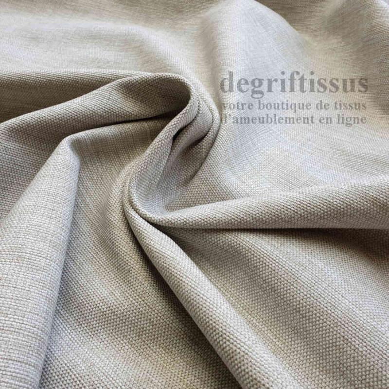 Tissu d'ameublement grain plat beige chiné - intérieur extérieur résistant soleil - degriftissus.com